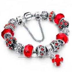 Браслет в стиле Pandora Пандора Роковой красный копия красного цвета