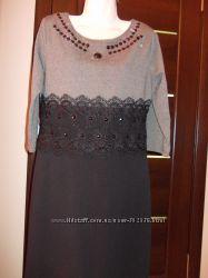 Платье трикотаж черное серое