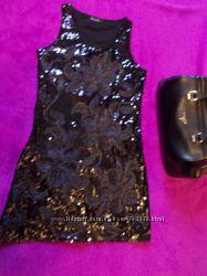 Платье  туника черное  пайетки  супер