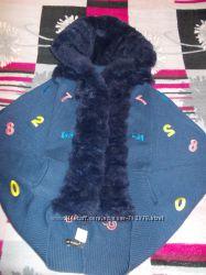 Кофта кардиган Буквы с капюшоном мех кролика.