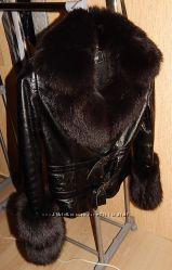 Куртка кожа-лак с мехом размер 48