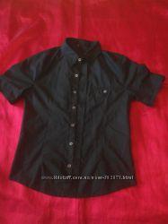 Черная приталенная рубашка для подростка