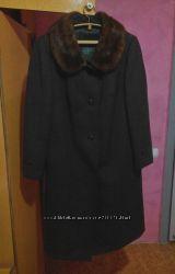 Зимнее шерстяное пальто с мехом норки