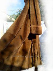 Шуба норковая, коричневая, длинная