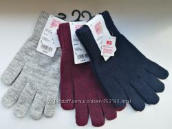 Перчатки вязаные Uniqlo Уникло, Япония, технологии Сенсор HEATTEC
