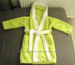 Мягкий теплый флисовые халат с капюшоном после ванной на 2-4 года