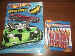 Отличный набор Раскраска Hot Wheels плюс толстые, тонкие восковые карандаши