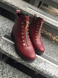 деми ботинки на молнии Lezzo, кожа, замш, черн, марсала