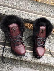 Зимние ботинки Zannоti. черн и вишня, кожа, кролик, шерсть овчина