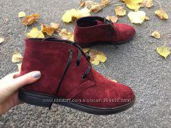 ботинки  замш, черн и марсала