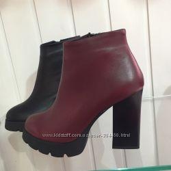 Ботиночки на удобном каблуке. кожа, замш, марсала, черн
