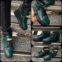 Зимние Ботинки Hermes. замш, кожа, внутри мех. черн, марсала, изумруд