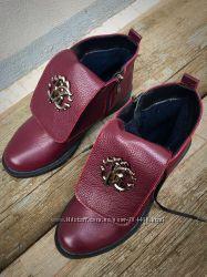 Ботинки RoB. Cavali. Зима, красн, бордо, серебро, черн, кожа, замш
