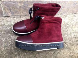 Зимние ботинки, замш, кожа, марсала и черные