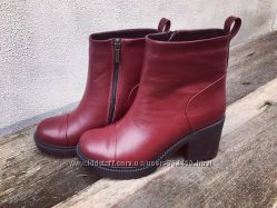 Ботиночки на толстом каблуке. кожа, замш, зима, черн и марсала