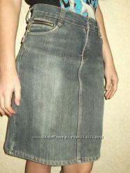 На флисе, джинс, юбка-карандаш,  S