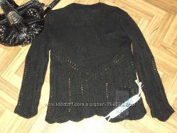 Черный ажурный мохеровый свитер, Kid mohair, S-M