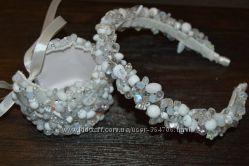 Свадебный ободок  браслет из чешского хрусталя и серьги-кисти