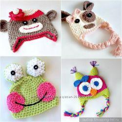 Вязаные шапочки, повязки, митенки и пинетки  handmade