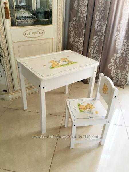 Стол-пенал и стульчик IKEA с росписью, постер в подарок