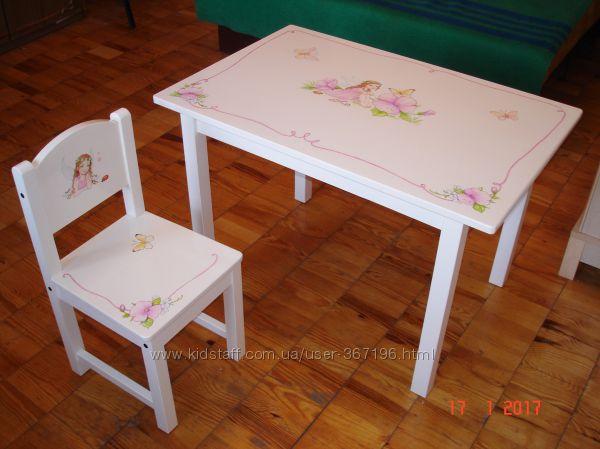 Столик и стульчик IKEA с росписью Фея, авторский постер в подарок