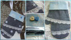 Новогодняя рукавичка варежка для подарков