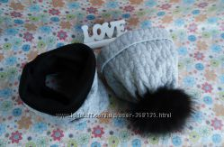 шапка деми-зима и снуд для мальчика с помпоном