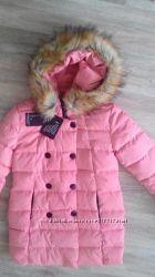 Новое розовое дутое пальто пуховик