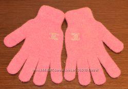 Теплые розовые перчатки из ангоры