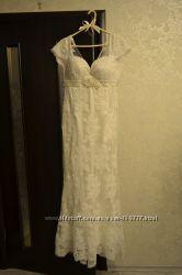 Обалденное кружевное свадебное платье русалка - рыбка