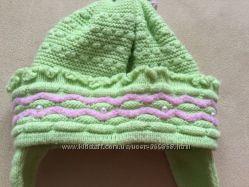 Теплая мятная деми- шапочка для прогулок весной- осенью