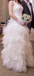 Продам свадебное платье, юбка перьями,
