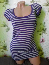 Фиолетовая футболка- туника в полоску ICHI  р. XS
