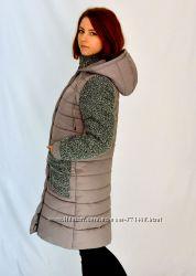 Стильная зимняя комбинированная куртка