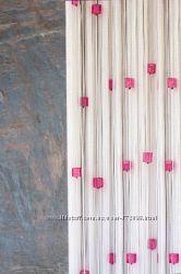 Нитяные  шторы  с  цветным  стеклярусом