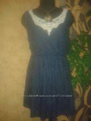 платье женское 48рр Atmosphere гипюр синее