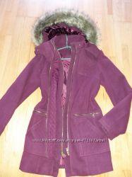 пальто-парка 48рр new look бордо с капюшоном