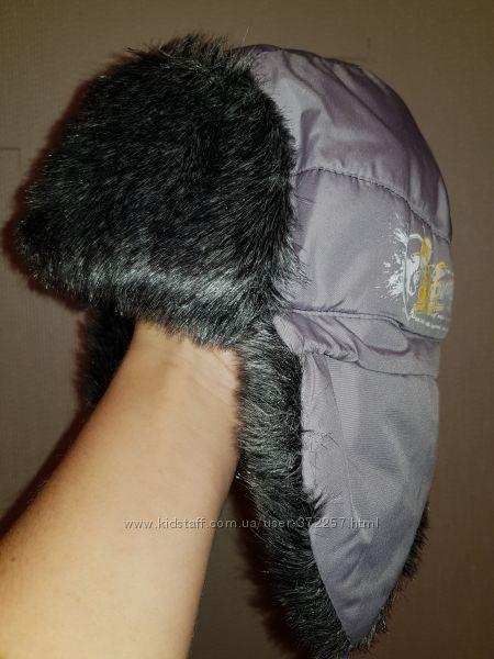 Зимняя серая шапка-ушанка для мальчика, размер 50-52 см