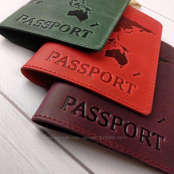 Обложка кожаная на паспорт Карта .