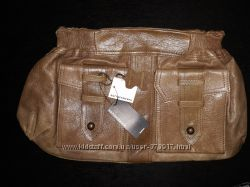 Новая сумка клатч, коричневая, кожа, Warehouse