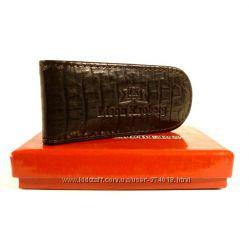 Купюрник-зажим для денег магнитный кожаный Lison Kaoberg черный, коричневый