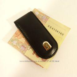 Купюрник-зажим для денег магнитный кожаный Prensiti черный