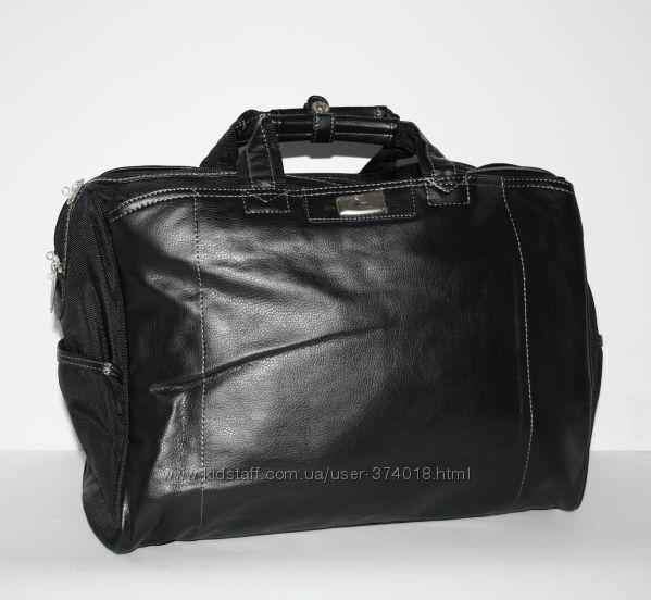 Сумка дорожная, саквояж черный Refiand 25 литров PU кожа