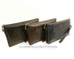 Клатч мужской кожаный Armani Jeans 921-1 синий, черный, коричневый