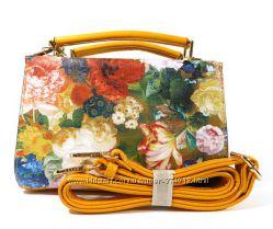 Клатч, сумочка на плечо Batty 073 с цветочным принтом, горчица
