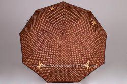 Женский брендовый складной зонт полный автомат Louis Vuitton коричневый