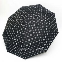Женский брендовый складной зонт полный автомат Chanel черный
