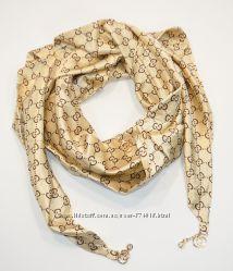 Стильный платок, косынка Gucci золотистая, атлас