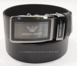 Кожаный ремень автомат мужской Giorgio Armani черный