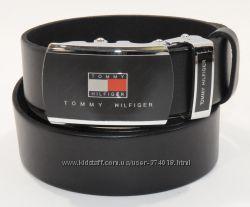 Кожаный ремень автомат мужской Tommy Hilfiger черный